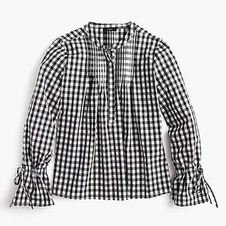 J.Crew Tie-sleeve top with pin tucks in gingham