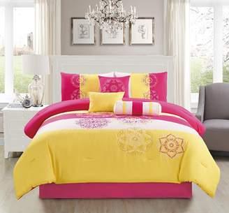 Elight Home Carlotta Embroidered 7 Piece Comforter Set Queen