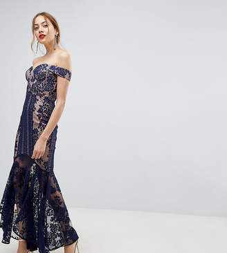 Jarlo Tall All Over Lace Off Shoulder Fishtail Midi Dress