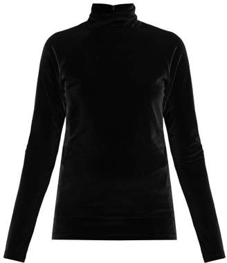Haider Ackermann Kerria High Neck Velvet Top - Womens - Black