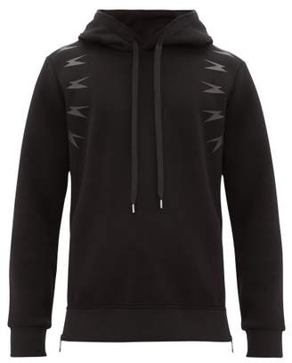 Neil Barrett Thunder Side Zip Hooded Sweatshirt - Mens - Black