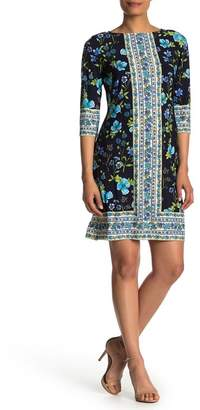 London Times Floral 3/4 Sleeve Shift Dress