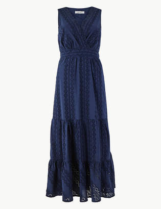 Per Una Per UnaMarks and Spencer Pure Cotton Embroidered Waisted Maxi Dress