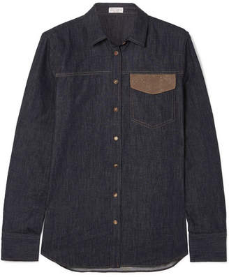 Brunello Cucinelli Bead-embellished Denim Shirt - Blue