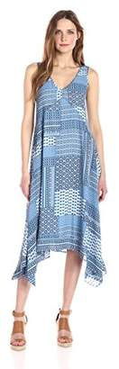 Nanette Lepore Nanette Women's Slvls Printed Chiffon Dress with Hankerchief Hem