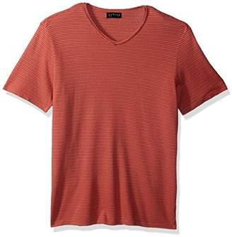 Velvet by Graham & Spencer Men V-Neck Short Sleeve Shirt in Stripe Pique