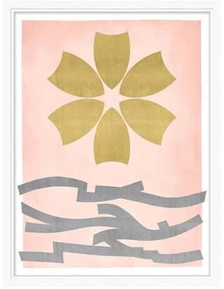 Pottery Barn Teen Gold Leaf Flower Framed Art, white frame, 20&quotx26&quot