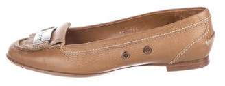 Christian Dior Leather Round-Toe Loafers