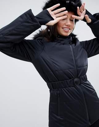 Asos 4505 4505 ski jacket with belt and padded panel detail