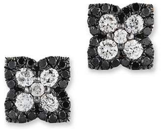 Bloomingdale's Black and White Diamond Clover Stud Earrings in 14K White Gold