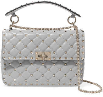 Valentino Garavani The Rockstud Spike Medium Quilted Leather Shoulder Bag - Gray