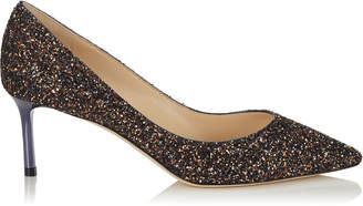 Jimmy Choo ROMY 60 Amethyst Mix Twinkle Glitter Fabric Pointy Toe Pumps