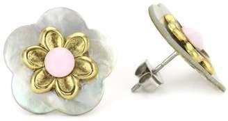 "Mother of Pearl Lenora Dame ""Romantic"" Mother-Of-Pearl Flower Post Earrings"