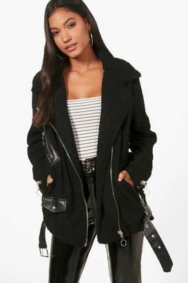 boohoo Beth Boucle Zip Pocket Oversize Biker Jacket