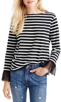 Women's J.crew Tulle Cuff Stripe T-Shirt $45 thestylecure.com