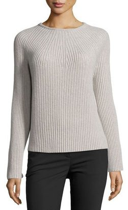 Helmut Lang Ribbed Wool-Cashmere Bell-Sleeve Sweater, Gray $395 thestylecure.com