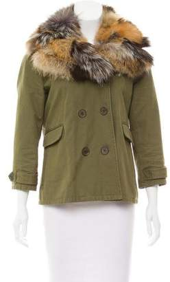 Gryphon Fur-Trimmed Double-Breasted Jacket