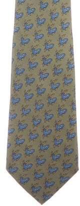 Hermes Moose Print Silk Tie