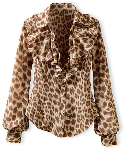 Silk animal print blouse