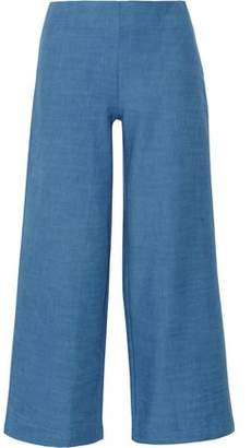 Solid & Striped The Side Zip Cotton-Chambray Flared Pants