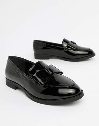 Glamorous Black Patent Bow Loafer