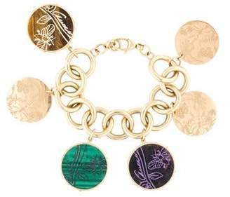 Gucci 18K Malachite, Tiger's Eye Quartz & Sugilite Flora St. Tropez Charm Bracelet