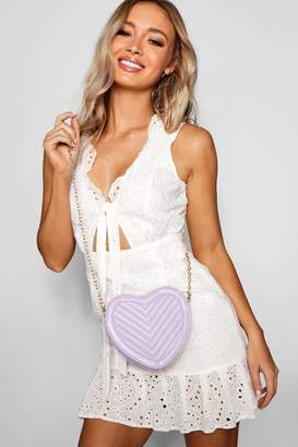 boohoo Quilted Heart Cross Body
