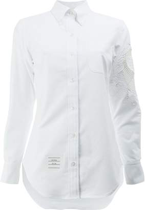 Thom Browne lace panel button-down shirt