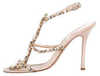 Rene Caovilla Beaded Ankle-Strap Sandals