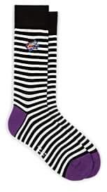 Paul Smith Men's Dreamer Stretch-Cotton Mid-Calf Socks - Black Pat.