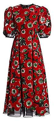Dolce & Gabbana Dolce& Gabbana Dolce& Gabbana Women's Floral Puffer Sleeve A-Line Dress