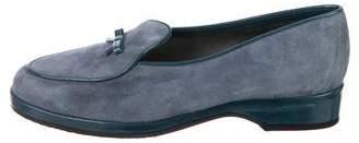 Stuart Weitzman Suede Round-Toe Loafers