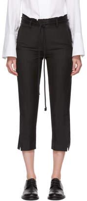 Ann Demeulemeester Black Linen Belted Trousers