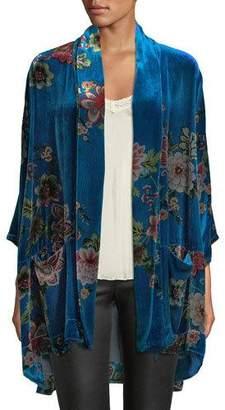 Johnny Was Petite Vivian Printed Velvet Kimono Jacket