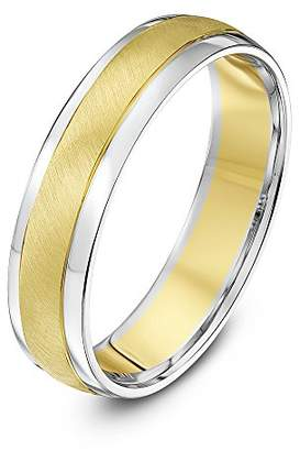 Theia Two Colours 9ct White Gold Sides with Yellow Gold Matt Centre Court Shape 5mm Wedding Ring - Size U