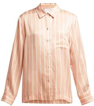 Asceno - Sand Washed Silk Pyjama Top - Womens - Pink Stripe