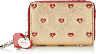 Jimmy Choo TALLY Gold and Red Metallic Sweetheart Printed Leather Small Zip Around Wallet