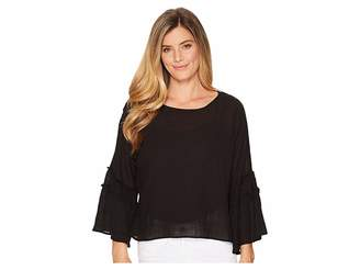 Vince Camuto Crinkle Cotton Pleated Sleeve Blouse Women's Blouse