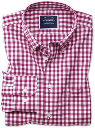 Charles Tyrwhitt Slim Fit Non-Iron Raspberry Gingham Poplin Cotton Casual Shirt Single Cuff Size Medium