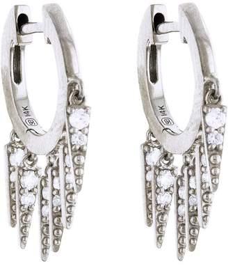 Sydney Evan Large Pavé Fringe Huggie Hoop Earrings - White Gold