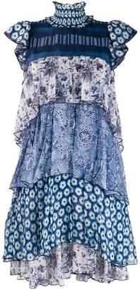 Diane von Furstenberg ruffled neck panelled dress