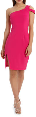 One shoulder bodycon dress with slit