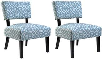 US Pride Furniture Charlotte Modern Patterned Print Fabric Upholstered Accent Chairs with Solid Wood Legs (Set of 2)