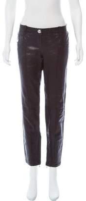 Balmain Mid-Rise Leather Moto Pants