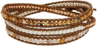 Chan Luu Rose Gold Over Silver Gemstone Leather Wrap Bracelet
