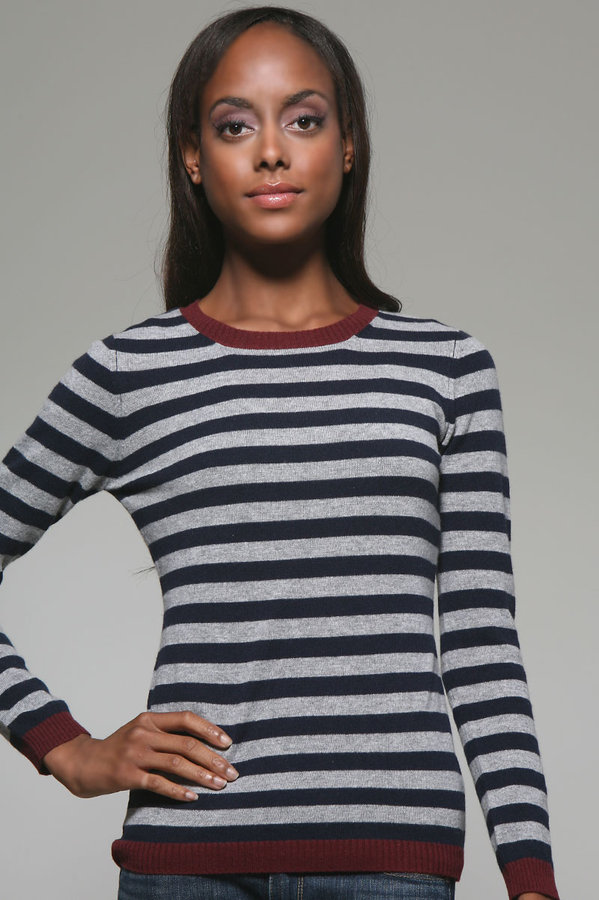 Autumn Cashmere Striped Crew Neck Sweater