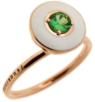 Selim Mouzannar White Enamel and Tsavorite Ring