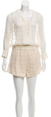 IRO Long Sleeve Embroidered Romper