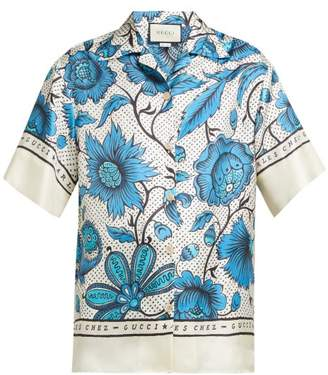 Gucci Alsacienne Print Silk Faille Bowling Shirt - Womens - Blue Multi