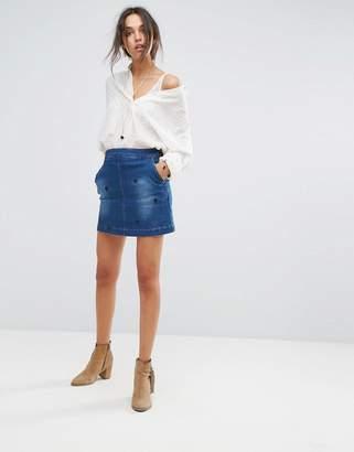 Vanessa Bruno Athe Hariette Embroidered Denim Skirt